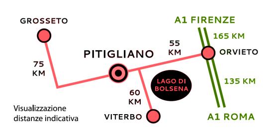 Mappa per raggiungerci dall'A1, dalla Cassia e dall'Aurelia